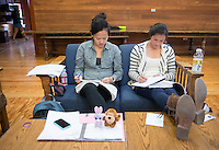 Occidental College students study for finals on Dec. 11, 2013. From left, Jenny Wang '14 and Sirena Van Epp '15 in the Samuelson Pavilion (The Cooler) (Photo by Marc Campos, Occidental College Photographer)