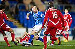 St Johnstone v Aberdeen...13.12.11   SPL .Sam Parkin is blocked by Youl Mawene.Picture by Graeme Hart..Copyright Perthshire Picture Agency.Tel: 01738 623350  Mobile: 07990 594431