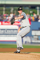 Akron Rubber Ducks starting pitcher Will Roberts (11) in action against the Reading Fightin Phils at FirstEnergy Stadium on June 19, 2014 in Wappingers Falls, New York.  The Rubber Ducks defeated the Fightin Phils 3-2.  (Brian Westerholt/Four Seam Images)