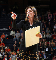 Virginia head coach Joanne Boyle calls a play during an NCAA college basketball game in Charlottesville, Va. Duke defeated Virginia 62-41...