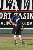 Drew Weeks #1 of the Tri-City Dust Devils before a game against the Everett AquaSox at Everett Memorial Stadium on July 29, 2014 in Everett, Washington. Everett defeated Tri-City, 7-5. (Larry Goren/Four Seam Images)