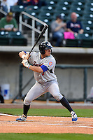 Tennessee Smokies outfielder John Andreoli (7) at bat during a game against the Birmingham Barons on April 22, 2014 at Regions Field in Birmingham, Alabama.  Birmingham defeated Tennessee 14-3.  (Mike Janes/Four Seam Images)