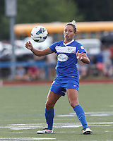Boston Breakers forward Kyah Simon (17) controls the ball. In a National Women's Soccer League (NWSL) match, Portland Thorns FC (white/black) defeated Boston Breakers (blue), 2-1, at Dilboy Stadium on July 21, 2013.