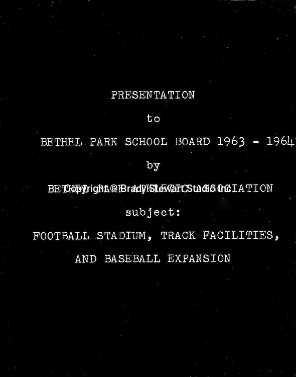 Bethel Park PA:  View of the Presentation given by the Bethel Park Athletic Association to the Bethel Park Pennsylvania school board - 1963.<br /> Brady Stewart Jr was hired by the Bethel Park Athletic Association to provide photographic services to support the presentation.  He traveled to 8 regional high schools to photograph stadiums, provide prints and create the presentation.  As of 12/27/15, we are still carrying the receivable!