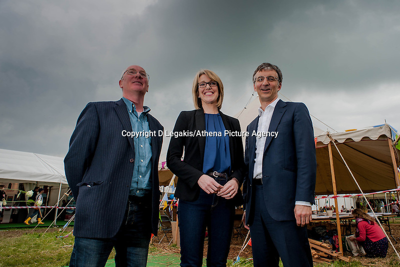 Tuesday 27 May 2014, Hay on Wye, UK<br /> Pictured: James Mitchell, Bethan Rhys Roberts and Richard Wyn Jones<br /> Re: The Hay Festival, Hay on Wye, Powys, Wales UK.
