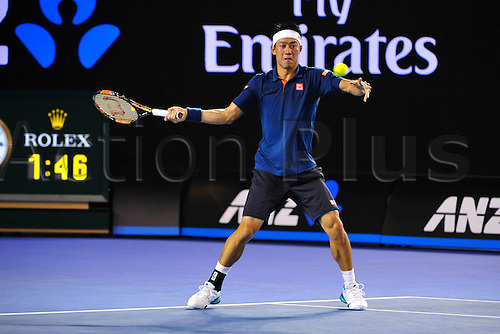 26.01.2016. Melbourne Park, Melbourne, Australia. Australian Open Tennis Championships.  Quarter-finals day.  Kei Nishikori (JPN) loses to Djokovic in 3 sets