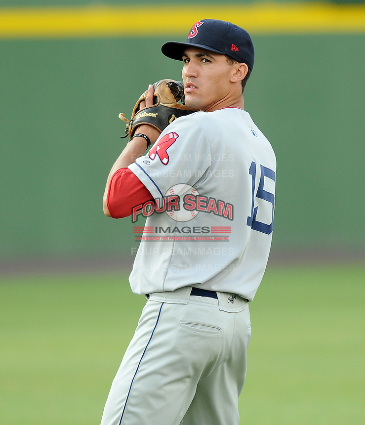 Infielder Derrik Gibson (15) of the Salem Red Sox, Carolina League affiliate of the Boston Red Sox, prior to a game against the Potomac Nationals on June 16, 2011, at Pfitzner Stadium in Woodbridge, Va. (Tom Priddy/Four Seam Images)