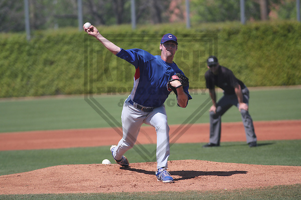 MESA - March 2013: Ian Dickson (34)  of the Chicago Cubs during a Spring Training game against the Cincinnati Reds on March 24, 2013 at Fitch Park in Mesa, Arizona.  (Photo by Brad Krause). .