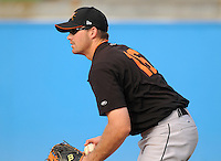 June 20, 2008: Catcher Mike Pierce (16) of the Frederick Keys, Carolina League affiliate of the Baltimore orioles, prior to a game against the Potomac Nationals at G. Richard Pfitzner Stadium in Woodbridge, Va. Photo by:  Tom Priddy/Four Seam Images