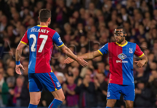05.05.2014  London, England. Crystal Palace defender Damien Delaney (27) celebrates scoring to make it 2-3 during the Barclays Premier League match between Crystal Palace and Liverpool from Selhurst Park