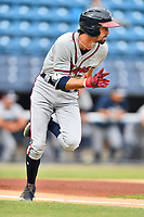 Rome Braves Braden Shewmake (39) runs to first base during a game against the Asheville Tourists at McCormick Field on July 18, 2019 in Asheville, North Carolina. The Tourists defeated the Braves 4-3. (Tony Farlow/Four Seam Images)