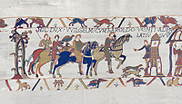 Bayeux Tapestry scene 14: Harold arives at Duke William of Normandy Castle. BYX14