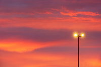 Street lamp and sunset sky.