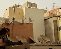 Satellite dishes on rooftops, Dubai, U.A.E.