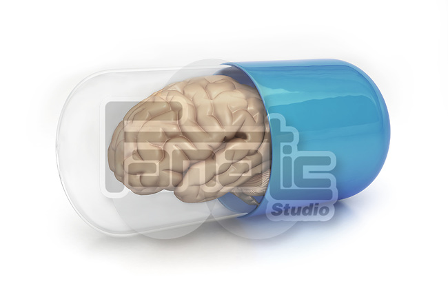 Illustrative image of brain in transparent capsule against gray background