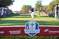 Phil Mickelson (Team USA) on the 8th tee during the Saturday morning Foursomes at the Ryder Cup, Hazeltine national Golf Club, Chaska, Minnesota, USA.  01/10/2016<br /> Picture: Golffile | Fran Caffrey<br /> <br /> <br /> All photo usage must carry mandatory copyright credit (&copy; Golffile | Fran Caffrey)