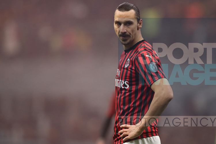 Zlatan Ibrahimovic of AC Milan during the Serie A match at Giuseppe Meazza, Milan. Picture date: 9th February 2020. Picture credit should read: Jonathan Moscrop/Sportimage