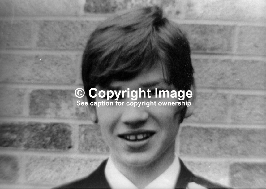 James Quigley, aka Jimmy Quigley, 18 years, Roman Catholic, from Divis Towers, Belfast, shot dead 29th September 1972 by soldiers in the attic of a pharmacy in the Lower Falls. The army maintain he was in possession of a rifle. He was subsequently listed on the republican roll of honour as a member of the IRA&rsquo;s 2nd battalion in Belfast. 197209290598<br /> <br /> Copyright Image from Victor Patterson, 54 Dorchester Park, Belfast, UK, BT9 6RJ<br /> <br /> t1: +44 28 9066 1296<br /> t2: +44 28 9002 2446<br /> m: +44 7802 353836<br /> <br /> e1: victorpatterson@me.com<br /> e2: victorpatterson@gmail.com<br /> <br /> www.victorpatterson.com<br /> <br /> IMPORTANT: Please see my Terms and Conditions of Use at www.victorpatterson.com