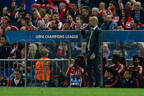27.04.2016. Madrid, Spain.  Pep Guardiola Coach of Bayern Munich looks pensive. UEFA Champions League Champions League between Atletico Madrid and Bayern Munich at the Vicente Calderon stadium in Madrid, Spain, April 27, 2016 .