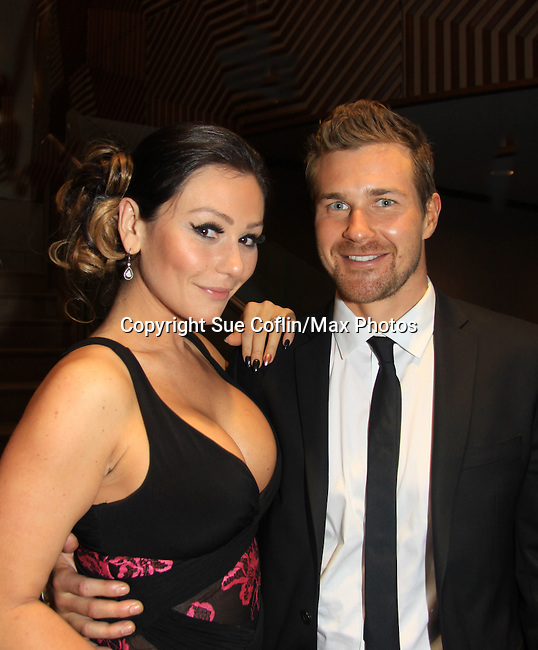 """One Life To Live's  Jenni Farley - """"JWOWW"""" poses with Josh Kelly """"Cutter Wentworth"""" after the screening at New York Premiere Event for beloved series """"One Life To Live"""" on April 23, 2013 at NYU Skirball, New York City, New York - as The Online Network (TOLN) - OLTL - AMC begin airing on April 29, 2013 on Hulu and Hulu Plus.  (Photo by Sue Coflin/Max Photos)"""