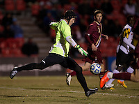 Alex Kapp (1) of Boston College punts the ball downfield during the ACC tournament quarterfinals at Ludwig Field in College Park, MD.  Maryland defeated Boston College, 2-0.