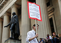 Occupy wall street members are seen at the Federal Hall next to the stock exchange in New Yok, United States. 4/17/2012. Photo by Kena Betancur