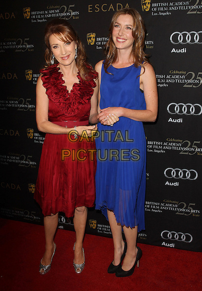 Jane Seymour and Katie Flynn.18th Annual BAFTA Los Angeles Awards Season Tea Party held at the Four Seasons Hotel, Beverly Hills, California, USA..January 14th, 2012.full length red ruffle neckline blue mother daughter family dress silver shoes peep toe .CAP/ADM/KB.©Kevan Brooks/AdMedia/Capital Pictures.