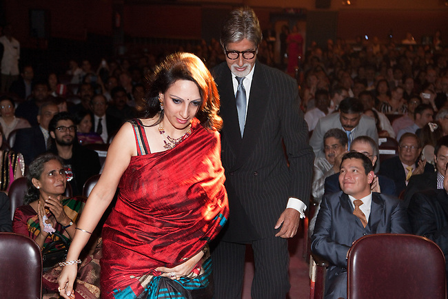 "21 November 2012: Indian cinema legend Amitabh Bachchan with Jaspreet Sharma  at the premiere of ""Fearless Nadia"" , a feature film celebrating the exploits of Perth born Mary Ann Evans who gained fame as a film star heroine in India in 1920's Bombay as Fearless Nadia; an Indian film actress and stuntwoman, who is remembered as the masked, cloaked adventuress in Hunterwali, an early female lead. The film is scored by a big band led by Ben Walsh in front of a live audience. Pictures  by Graham Crouch/OzFest."