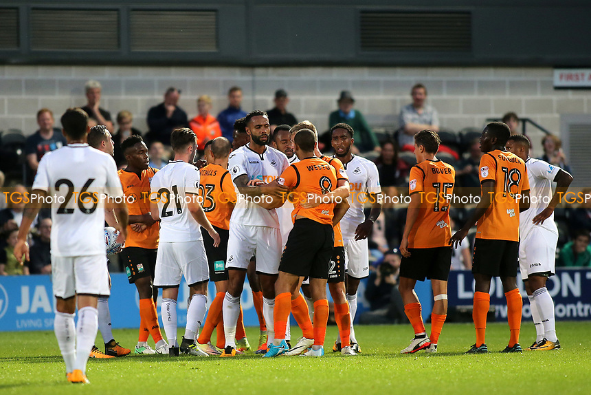 Tempers flare in the second half during Barnet vs Swansea City, Friendly Match Football at the Hive Stadium on 12th July 2017
