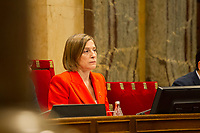 Catalonia Parliament president, Carme Forcadell during the Catalan president Carles Puigdemont  speech at Catalan Parlament to declare and then postpone the Independence of Catalunya. Catalonia. In Barcelona on October 10, 2017.