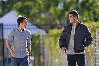 San Jose, CA - Saturday September 15, 2018: Shea Salinas, Andrew Tarbell prior to a Major League Soccer (MLS) match between the San Jose Earthquakes and Sporting Kansas City at Avaya Stadium.