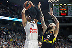 Real Madrid's Gustavo Ayon (l) and Fenerbahce Istambul's Pero Antic during Euroleague, Regular Season, Round 29 match. March 31, 2017. (ALTERPHOTOS/Acero)
