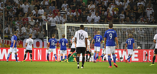 31.08.2016 Moenchengladbach, Germany. International football freindly. Germany versus Finland.  Mesut Oezil (DFB)scores the goal, for 2:0