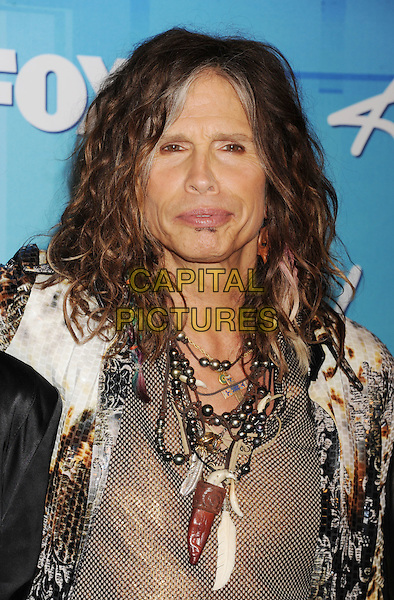 """Steven Tyler of Aerosmith.Press room during """"American Idol Season 11 Grand Finale"""" Show at Nokia Theatre L.A. Live in Los Angeles, California, USA..May 23rd, 2012 .headshot portrait white gold necklaces.CAP/ROT/TM.©Tony Michaels/Roth Stock/Capital Pictures"""