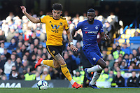 Morgan Gibbs-White of Wolverhampton Wanderers in possession as Chelsea's Antonio Rudiger looks on during Chelsea vs Wolverhampton Wanderers, Premier League Football at Stamford Bridge on 10th March 2019
