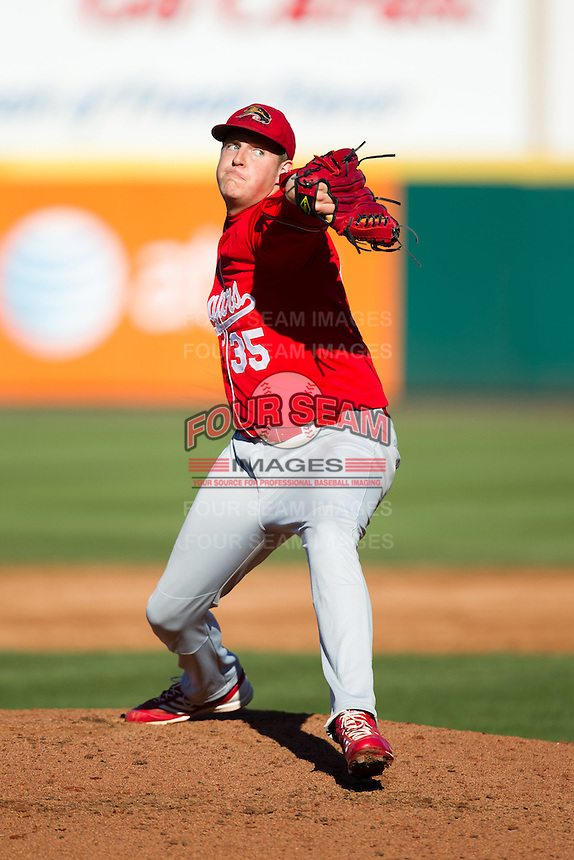 Ryan Daniels (35) of the Southern Illinois University- Edwardsville Cougars delivers a pitch during a game against the Missouri State Bears at Hammons Field on March 9, 2012 in Springfield, Missouri. (David Welker / Four Seam Images).