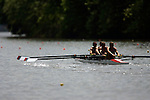 A four man crew rows down the river as they compete during the 68th Dad Vail Regatta on the Schuylkill River in Philadelphia, Pennsylvania on May 12, 2006.........