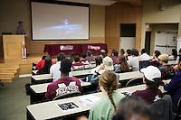 Engineering Week (E-Week) NASA Panel: MSU Engineering Alumni (all NASA engineers) discuss NASA's new Space Launch System (SLS)<br />  (photo by Megan Bean / &copy; Mississippi State University)