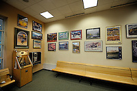 The Alaska Railroad's Fairbanks depot includes a display of many of the railroad's annual posters.