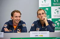 Swiss, Genève, September 14, 2015, Tennis,   Davis Cup, Swiss-Netherlands, Press Conference Dutch team, Matwe Middelkoop and Thiemo de Bakker (R)<br /> Photo: Tennisimages/Henk Koster