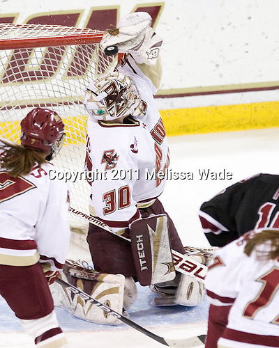 Molly Schaus (BC - 30) - The Boston College Eagles defeated the Harvard University Crimson 3-1 to win the 2011 Beanpot championship on Tuesday, February 15, 2011, at Conte Forum in Chestnut Hill, Massachusetts.
