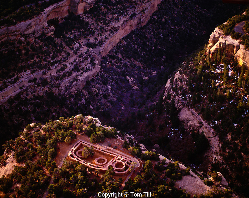 The Sun Temple at Mesa Verde Mesa Verde National Park, Colorado  Ancestral Puebloan Ruin    Aerial view