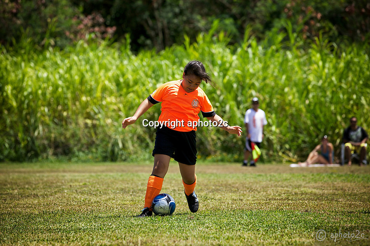 Orange Crush U12 soccer game vs. 808 Allstars at Azevedo field in Waimanalo. It was a noon game and hot day but they scored 2-1 and won.