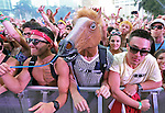 A horse head is seen moving to the beat during the Ultra Music Festival at Bayfront Park on Friday, March 15, 2013.