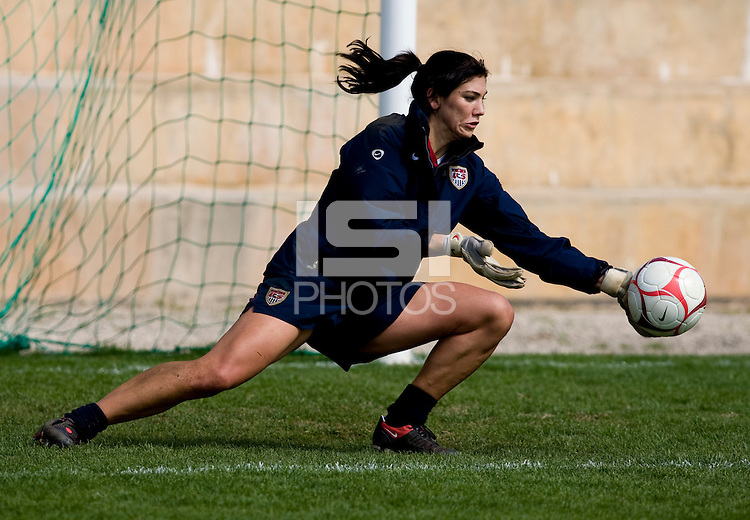 Hope Solo of the USWNT practices the day after their second game at the Algarve Cup in Albufeira, Portugal.