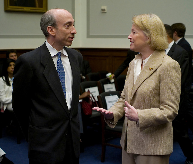 WASHINGTON, DC - July 22: Commodity Futures Trading Commission Chairman Gary Gensler and Securities and Exchange Commission Chairwoman Mary Schapiro before the House Financial Services hearing on financial regulatory overhaul. (Photo by Scott J. Ferrell/Congressional Quarterly)