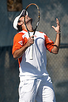 SAN ANTONIO, TX - MARCH 4, 2012: The University of Portland Pilots vs. The University of Texas at San Antonio Roadrunners Men's Tennis at the UTSA Tennis Center. (Photo by Jeff Huehn)