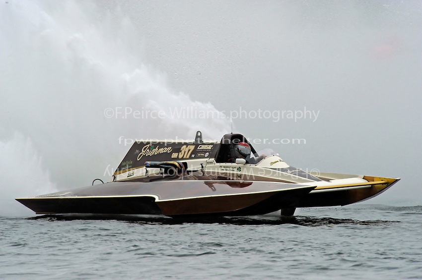 "13-14 June, 2009, APBA Inboards, Walled Lake, Novi, MI. USA.Steve Kuhr, GNH-317 ""The Irishman"", Grand National Hydroplane.©F. Peirce Williams 2009 USA.F.Peirce Williams.photography.ref: RAW (.NEF) File Available"