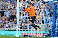 Mathew Ryan Goalkeeper of Brighton & Hove Albion (1) saves well  during the EPL - Premier League match between Brighton and Hove Albion and Manchester City at the American Express Community Stadium, Brighton and Hove, England on 12 August 2017. Photo by Edward Thomas / PRiME Media Images.