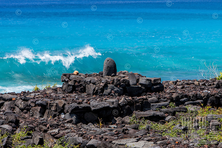 Kula Iwi stone shrine altar along the ocean in Kailua-Kona, Big Island, Hawaii